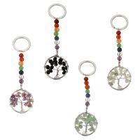 Schlüsselanhänger, Messing, mit Edelstein, silberfarben plattiert, verschiedenen Materialien für die Wahl, 30x36x6mm, 25mm, 105mm, verkauft von PC