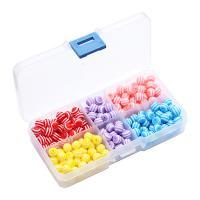 Gestreifte Harz Perlen, mit Kunststoff Kasten, rund, Streifen, gemischte Farben, 8mm, Bohrung:ca. 1mm, verkauft von Box