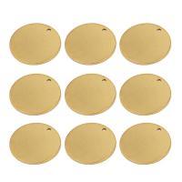 Edelstahl Schmuck Anhänger, flache Runde, goldfarben plattiert, 20mm, Bohrung:ca. 1mm, 10PCs/Tasche, verkauft von Tasche