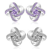 Sterling Silber Schmuck Ohrring, 925 Sterling Silber, Blume, für Frau & mit kubischem Zirkonia, keine, 13x13mm, verkauft von Paar