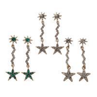 Zinklegierung Tropfen Ohrring, mit Glas, Edelstahl Stecker, Stern, plattiert, für Frau & mit Strass, frei von Blei & Kadmium, 13x43x2.50mm, verkauft von Tasche