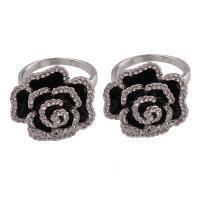Zinklegierung Fingerring , Rose, antik silberfarben plattiert, für Frau & Emaille & mit Strass, frei von Blei & Kadmium, 23x21x13mm, Größe:6.5, 6PCs/Tasche, verkauft von Tasche