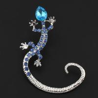 Zinklegierung Ohrring Manschette, Gecko, silberfarben plattiert, unisex & mit Strass, frei von Blei & Kadmium, 39x52x7mm, verkauft von PC