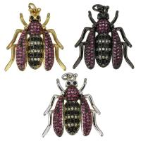 Befestigter Zirkonia Messing Anhänger, Insekt, plattiert, Micro pave Zirkonia & für Frau, keine, 24x26x5mm, Bohrung:ca. 3mm, 5PCs/Menge, verkauft von Menge