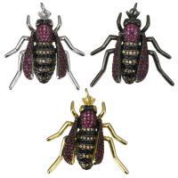 Befestigter Zirkonia Messing Anhänger, Insekt, plattiert, Micro pave Zirkonia & für Frau, keine, 29x29x11mm, Bohrung:ca. 3mm, 5PCs/Menge, verkauft von Menge