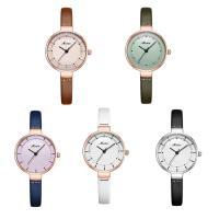 MEIBIN® Damen Schmuck Uhren, PU Leder, mit Glas & Edelstahl, plattiert, für Frau, keine, 28x9mm, Länge:ca. 7 ZollInch, verkauft von PC