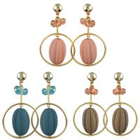 Zinklegierung Tropfen Ohrring, mit Acryl, Eisen Stecker, Kreisring, goldfarben plattiert, für Frau & mit Strass, keine, frei von Nickel, Blei & Kadmium, 40x70mm, verkauft von Paar
