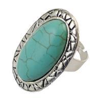 Zinklegierung Open -Finger-Ring, mit Synthetische Türkis, flachoval, antik silberfarben plattiert, für Frau, Größe:7, verkauft von PC