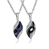 Titanstahl Halskette, mit Saphir & schwarzer Stein, mit Verlängerungskettchen von 2inch, verschiedenen Materialien für die Wahl & Oval-Kette & für den Menschen, originale Farbe, 38mm, verkauft per ca. 20 ZollInch Strang
