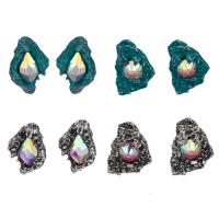 Zinklegierung Ohrstecker, plattiert, verschiedene Stile für Wahl & für Frau & mit Strass, frei von Nickel, Blei & Kadmium, 10x20mm, verkauft von Paar