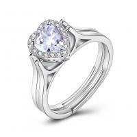 comeon® Finger-Ring, 925 Sterling Silber, Herz, platiniert, drehbare & einstellbar & für Frau & mit kubischem Zirkonia, 9mm, Größe:8, verkauft von PC