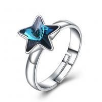 comeon® Finger-Ring, 925 Sterling Silber, mit Österreichischer Kristall, Stern, platiniert, einstellbar & für Frau, 11mm, Größe:8, verkauft von PC