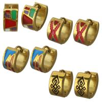 Huggie Ohrreifen, Edelstahl, goldfarben plattiert, verschiedene Muster für Wahl & für Frau & Emaille, 7x13mm, 12PaarePärchen/Menge, verkauft von Menge