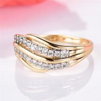 Messing Fingerring, goldfarben plattiert, verschiedene Größen vorhanden & für Frau & mit Strass & hohl, frei von Nickel, Blei & Kadmium, verkauft von PC