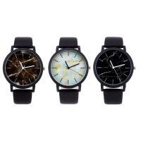PU Leder Armbanduhr, mit Glas & Edelstahl & Zinklegierung, schwärzen, unisex & einstellbar & verschiedene Muster für Wahl, 40x7mm, Länge:ca. 10 ZollInch, verkauft von PC