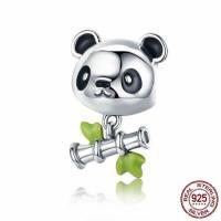 925 Sterlingsilber European Perlen, 925 Sterling Silber, Panda, ohne troll & Emaille, 12x18mm, Bohrung:ca. 4.5-5mm, verkauft von PC