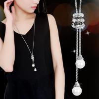 Zinklegierung Halskette, flache Runde, plattiert, Kastenkette & für Frau & mit Strass, keine, frei von Nickel, Blei & Kadmium, 17mm, 11mm, verkauft per ca. 17.5 ZollInch Strang