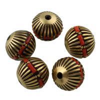 Strass Zinklegierung Perlen, Trommel, antike Goldfarbe plattiert, mit Strass, frei von Blei & Kadmium, 15x16mm, Bohrung:ca. 1mm, verkauft von PC