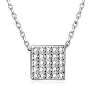 925 Sterling Silber Halskette, mit Verlängerungskettchen von 1.9lnch, Würfel, platiniert, Oval-Kette & Micro pave Zirkonia & für Frau, 7x7mm, verkauft per ca. 15.7 ZollInch Strang