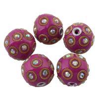 Zinklegierung Perle, mit Indonesien, antik silberfarben plattiert, mit Strass, frei von Blei & Kadmium, 24mm, Bohrung:ca. 3mm, verkauft von PC
