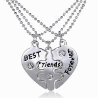 Zinklegierung Puzzle-Freundschaft-Halskette, mit Verlängerungskettchen von 1.96 Inch, Herz, silberfarben plattiert, unisex & Kugelkette & mit Brief Muster & Emaille, frei von Nickel, Blei & Kadmium, 35x25mm, Länge:ca. 17.7 ZollInch, 3SträngeStrang/setzen, verkauft von setzen