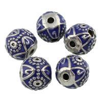 Zinklegierung Perle, rund, Platinfarbe platiniert, Emaille, frei von Blei & Kadmium, 13x15mm, Bohrung:ca. 13x15mm, verkauft von PC