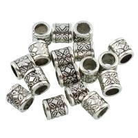 Zinklegierung Großes Loch Perlen, Trommel, antik silberfarben plattiert, frei von Blei & Kadmium, 9x8.5mm, Bohrung:ca. 5.5mm, 50PCs/Tasche, verkauft von Tasche