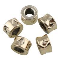 Zinklegierung Großes Loch Perlen, Zylinder, vergoldet, frei von Blei & Kadmium, 6x9mm, Bohrung:ca. 5mm, 20PCs/Tasche, verkauft von Tasche