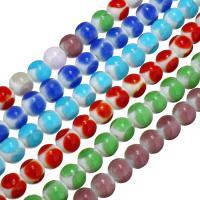 Handgewickelte Perlen, Lampwork, rund, keine, 11mm, Bohrung:ca. 2mm, ca. 40PCs/Strang, verkauft per ca. 15 ZollInch Strang