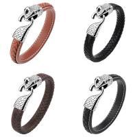 Kuhhaut Armband, Edelstahl Haken und Augen Verschluss, für den Menschen & Schwärzen, keine, 13mm, verkauft per ca. 8.5 ZollInch Strang
