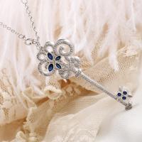 Messing Halskette, Schlüssel, versilbert, Oval-Kette & für Frau & mit Strass, frei von Blei & Kadmium, 60x25mm, verkauft per ca. 17.7 ZollInch Strang