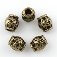 Zink Legierung Perlen Schmuck, Zinklegierung, Trommel, antike Bronzefarbe plattiert, frei von Blei & Kadmium, 6x5.5mm, Bohrung:ca. 2mm, 10PCs/Tasche, verkauft von Tasche