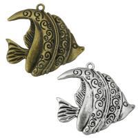 Zinklegierung Tier Anhänger, Fisch, plattiert, keine, 37x35x5mm, Bohrung:ca. 2mm, 200PCs/Tasche, verkauft von Tasche