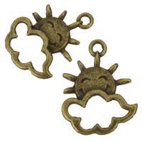 Zink-Aluminium-Anhänger, Zinklegierung, Sonne, antike Bronzefarbe plattiert, 16x21x2.50mm, Bohrung:ca. 2mm, 200PCs/Tasche, verkauft von Tasche