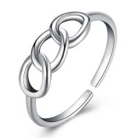Messing Fingerring, versilbert, für Frau, frei von Blei & Kadmium, 5mm, Größe:6-8, verkauft von PC