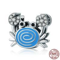 Thailand European Perlen, Krabbe, ohne troll & Emaille & mit kubischem Zirkonia, 11x13mm, Bohrung:ca. 4.5-5mm, verkauft von PC