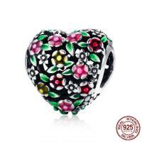 Thailand European Perlen, Herz, ohne troll & Emaille & hohl, 11x11mm, verkauft von PC