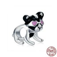 925 Sterlingsilber European Perlen, 925 Sterling Silber, Hund, ohne troll & Emaille, 13x7mm, Bohrung:ca. 4.5-5mm, verkauft von PC