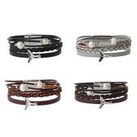 PU Schnur Armbänder, PU Leder, mit Kunststoff Perlen & Zinklegierung, silberfarben plattiert, für Frau & Multi-Strang, keine, 20mm, verkauft per ca. 8 ZollInch Strang