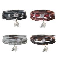 PU Leder Armband, mit Kunststoff Perlen & Zinklegierung, silberfarben plattiert, Armband  Bettelarmband & für Frau & mit kubischem Zirkonia & Multi-Strang, keine, 16mm, verkauft per ca. 8 ZollInch Strang