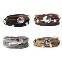 PU Leder Armband, mit Kunststoff Perlen & Zinklegierung, silberfarben plattiert, für Frau & mit Strass & Multi-Strang, keine, 16mm, verkauft per ca. 16 ZollInch Strang