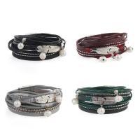 Kuhhaut Armband, mit Kunststoff Perlen & Zinklegierung, silberfarben plattiert, für Frau & Multi-Strang, keine, 16mm, verkauft per ca. 15 ZollInch Strang