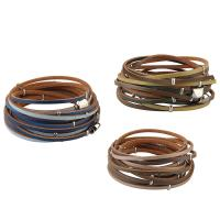 Kuhhaut Armband, mit Zinklegierung, silberfarben plattiert, für Frau & Multi-Strang, keine, verkauft per ca. 37 ZollInch Strang
