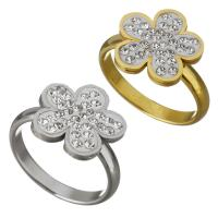 Edelstahl Fingerring, mit Ton, Blume, plattiert, für Frau, keine, 14mm, Größe:8, verkauft von PC