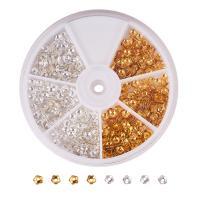 Messing Perlenkappe, mit Kunststoff Kasten, plattiert, gemischte Farben, frei von Nickel, Blei & Kadmium, 4x1.2mm, Bohrung:ca. 1mm, 850PCs/Box, verkauft von Box