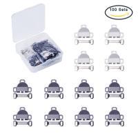 Zinklegierung Knebelverschluss, mit Kunststoff Kasten, plattiert, gemischte Farben, frei von Blei & Kadmium, 16.5x13mm, 18.5mm, Bohrung:ca. 1-1.5mm, 100SetsSatz/Box, verkauft von Box