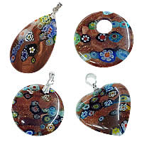 Goldsand Millefiori Glass Pendants