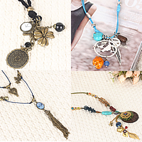 Zinc Alloy Wool Cord Necklace