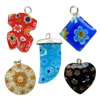 Iron Millefiori Glass Pendants